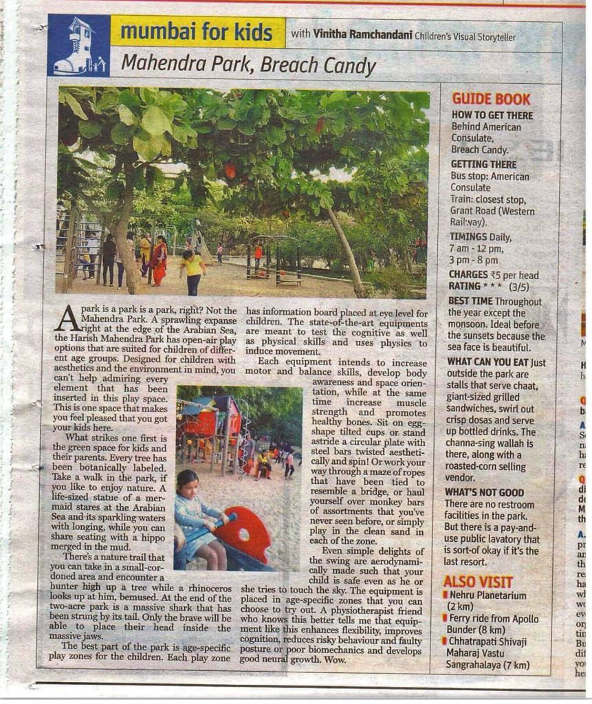Mumbai for Kids the first column Mahendra Park